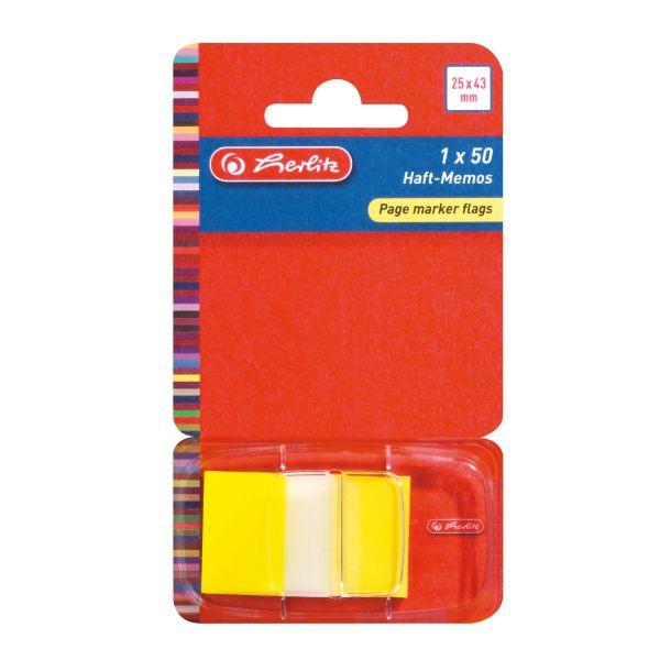 záložky Page marker flags, 25 x 43 mm 1 x 50 lístků, PET, transparentní, žlutá špička