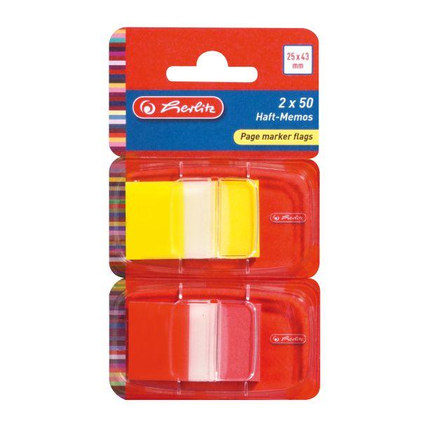 záložky Page marker flags, 25 x 43 mm 2 x 50 lístků, PET, transparentní, žlutá a červená špička