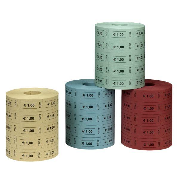 kupóny s hodnotou 1 euro, 5 x 1000 útržků postupně číslované, 5 rolí