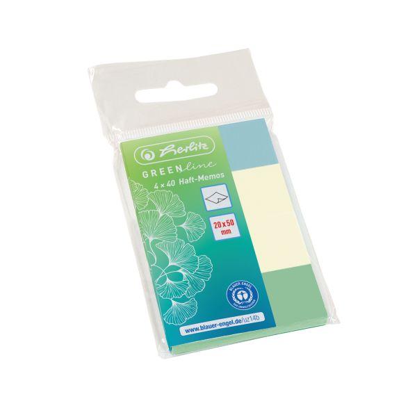 samolepicí bloček 20x50mm 4x40 ks GREENline mix barev