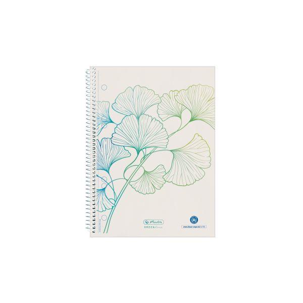 Spirálový blok A5 GREENline 70 listů, čtverečkovaný motiv Ginkgo