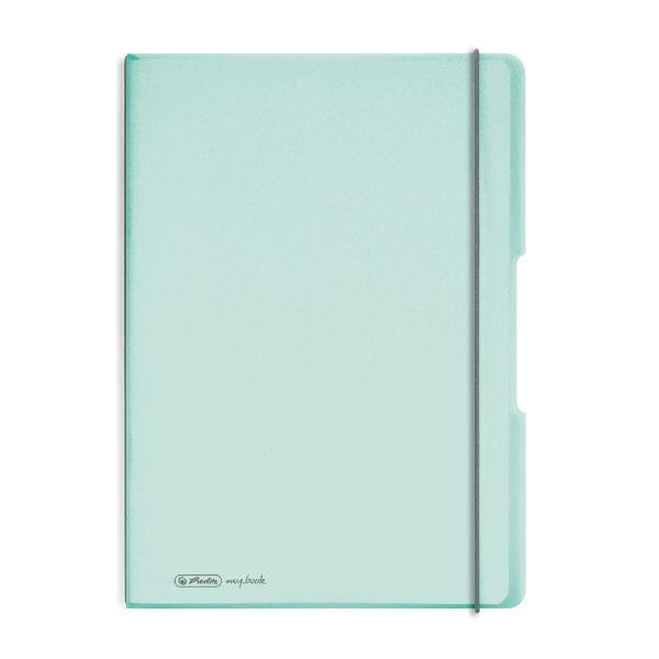Notizheft flex PP A4,40Blatt kariert und 40Blatt minze, gelocht, Mikroperforation my.book