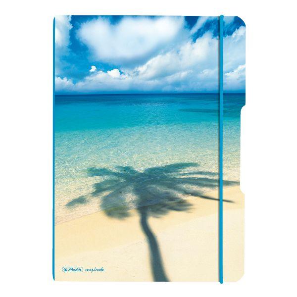 Notizheft flex PP A4,40Blatt kariert und 40Blatt Palme, gelocht, Mikroperforation my.book