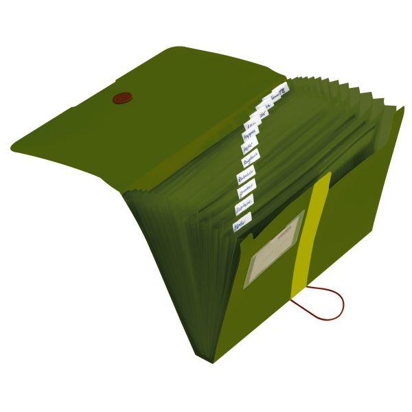 Fächermappe Recycling PP A4 12 Fächer dunkelgrün