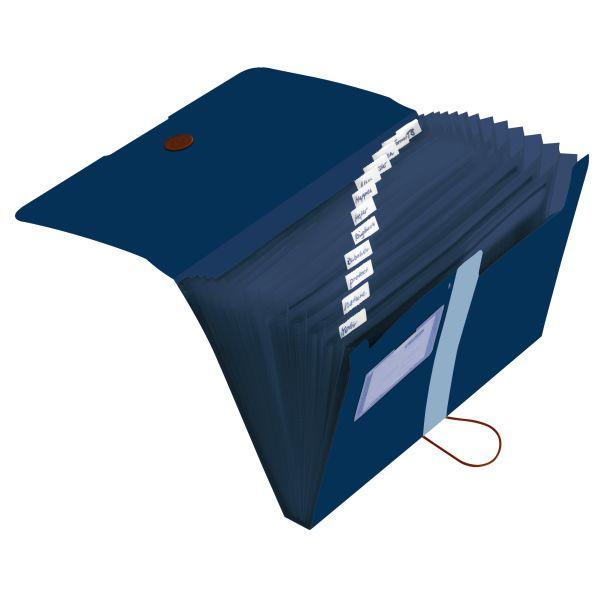 Fächermappe Recycling PP A4 12 Fächer dunkelblau