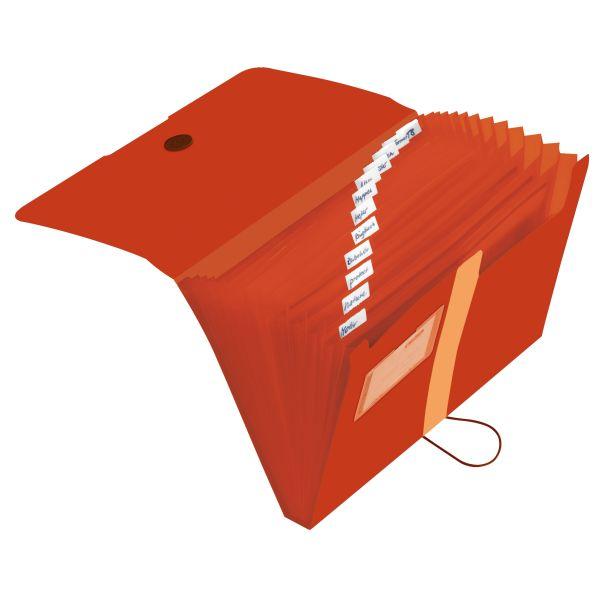 Fächermappe Recycling PP A4 12 Fächer orange
