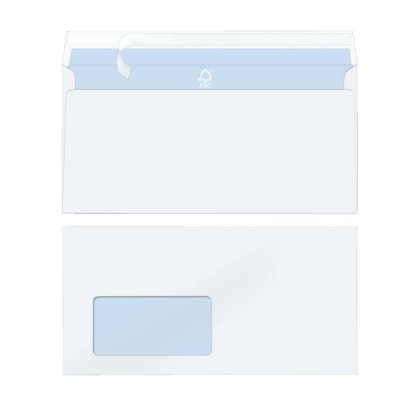 Briefumschlag DL 100g haftklebend mit Fenster hochweiß FSC Mix 15er Packung