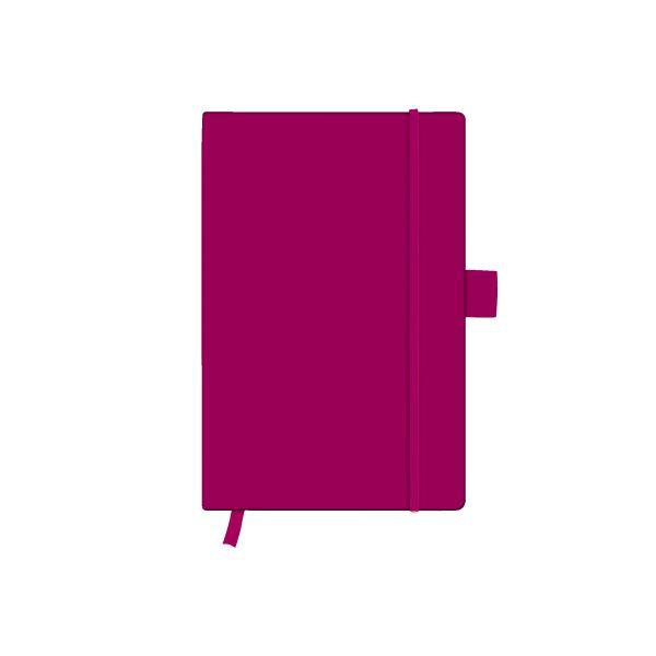 Notizbuch Classic A6 96 Blatt kariert berry mit Leseband und Falttasche my.book