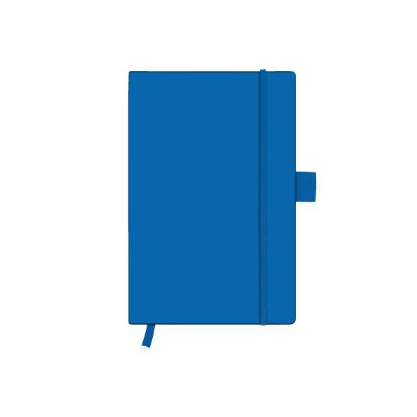 Notizbuch Classic A6 96 Blatt kariert blue mit Leseband und Falttasche my.book