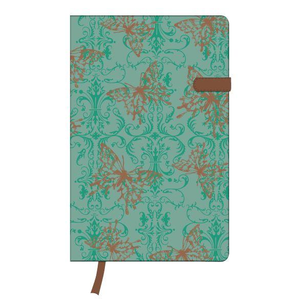 Notizbuch Lady A5 96 Blatt liniert Butterfly mit Leseband und Falttasche my.book