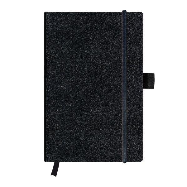 Notizbuch Classic A5 96 Blatt blanko schwarz mit Leseband und Falttasche my.book