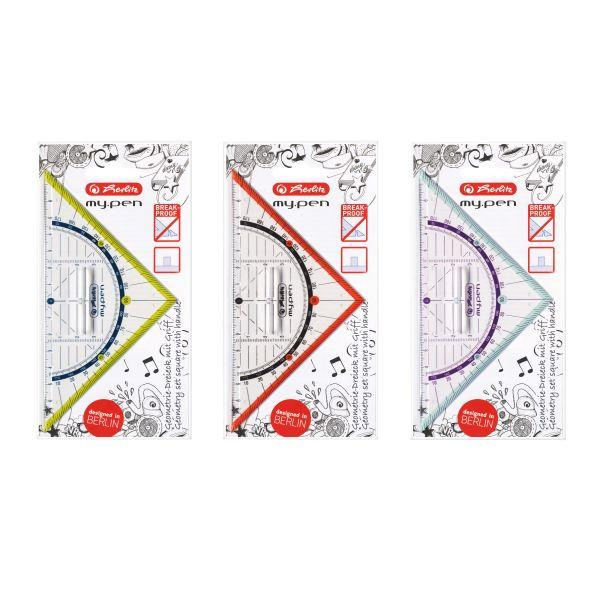 Geometriedreieck my.pen 16cm Kunststoff 16cm mit Griff farbig sortiert