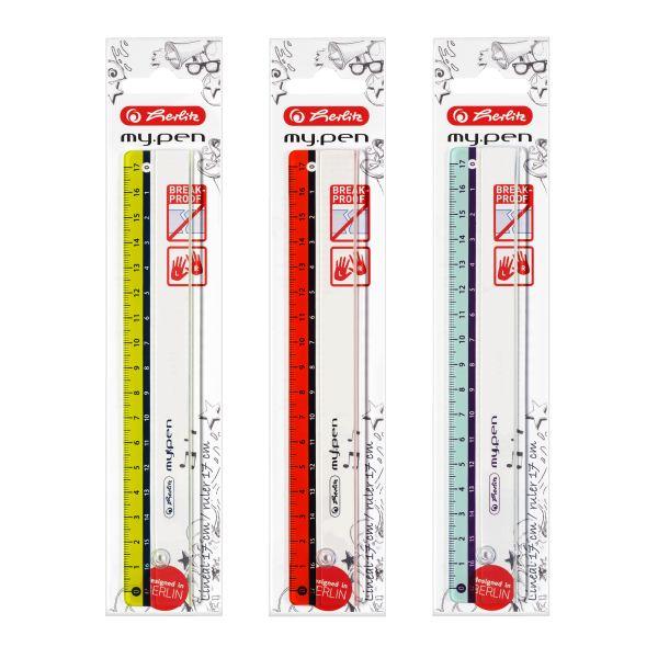 Lineal my.pen Kunststoff 17cm farbig sortiert