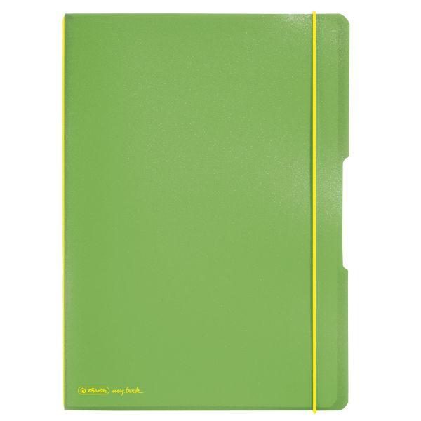 Notizheft flex PP A4,40Blatt kariert und 40Blatt liniert,h´grün, gelocht, Mikroperforation my.book