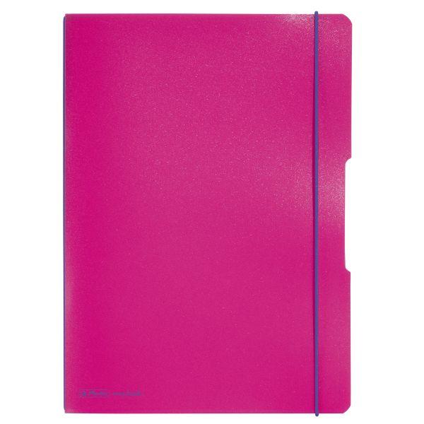 Notizheft flex PP A4,40Blatt kariert und 40Blatt pink, gelocht, Mikroperforation my.book