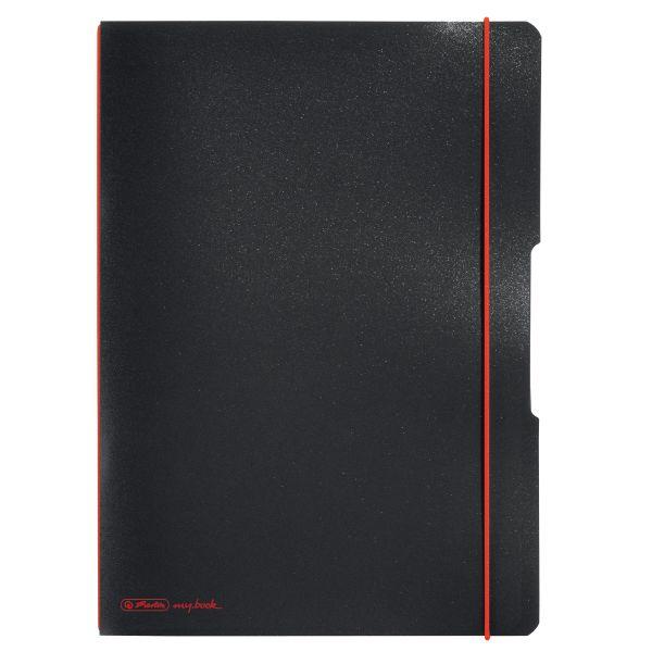 Notizheft flex PP A4,40Blatt kariert und 40Blatt schwarz, gelocht, Mikroperforation my.book