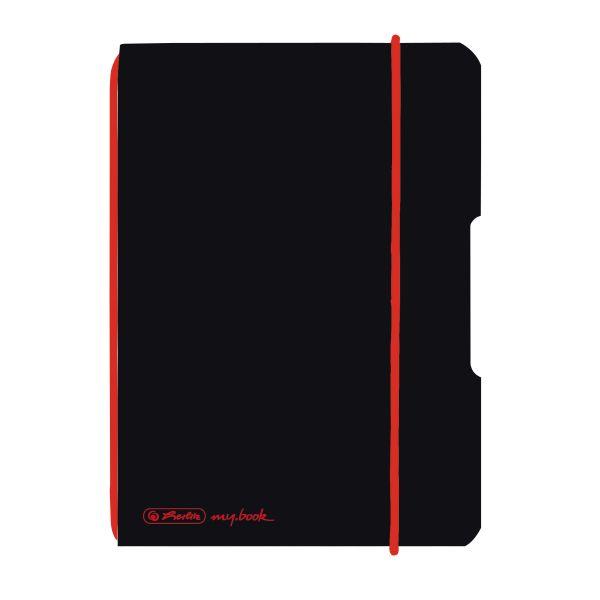 Notizheft flex PP A6,40 Blatt, kariert schwarz, my.book