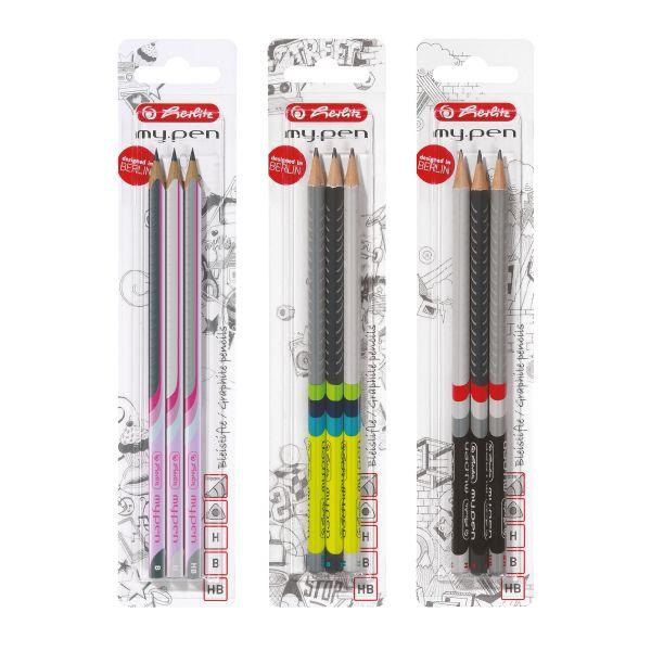 Bleistift my.pen 3er H, HB, B 3 Stück auf Blisterkarte