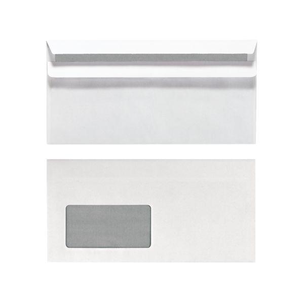 Briefumschlag DL selbstklebend mit Fenster weiß banderoliert