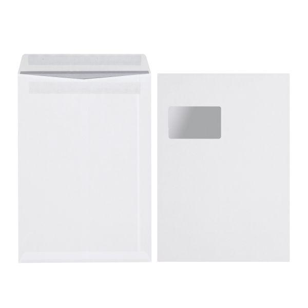 Versandtasche C4 90g selbstklebend mit Fenster weiß 250er Karton