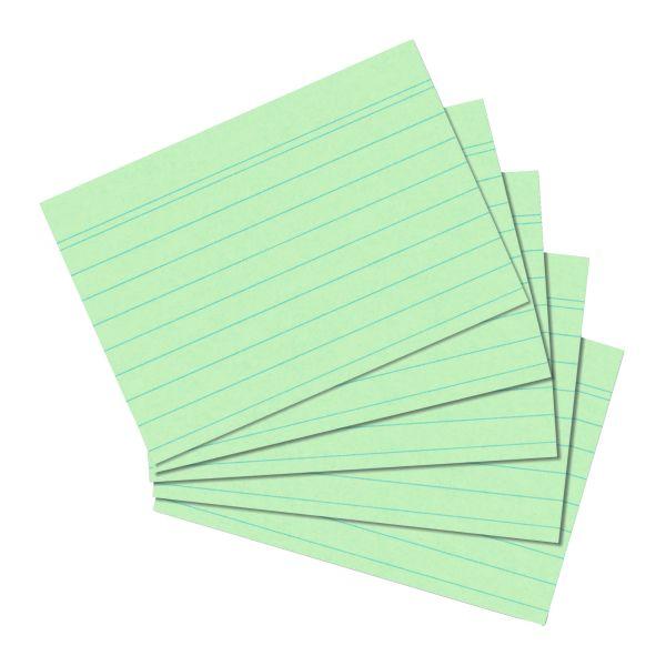 Karteikarte A6 liniert grün 100er Packung