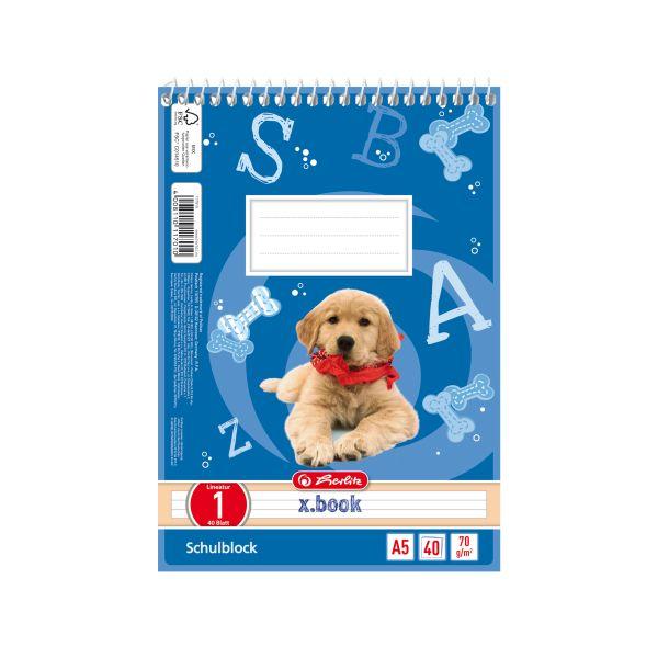 Spiralschulblock A5 40 Blatt Lineatur 01 Motiv Hund