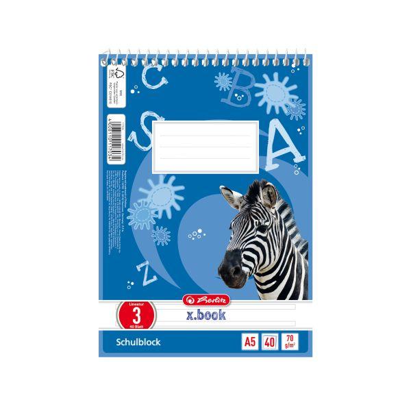Spiralschulblock A5 40 Blatt FSC Lineatur 03 Motiv Zebra
