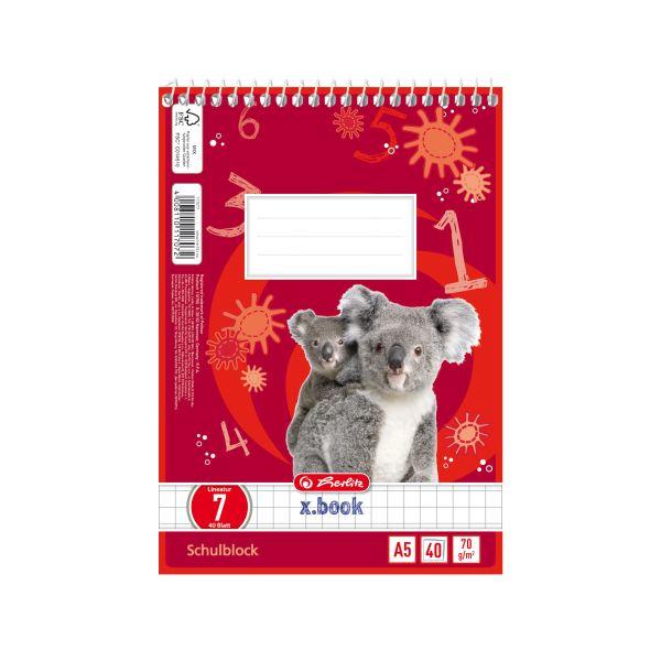 Spiralschulblock A5 40 Blatt FSC Lineatur 07 Motiv Koala