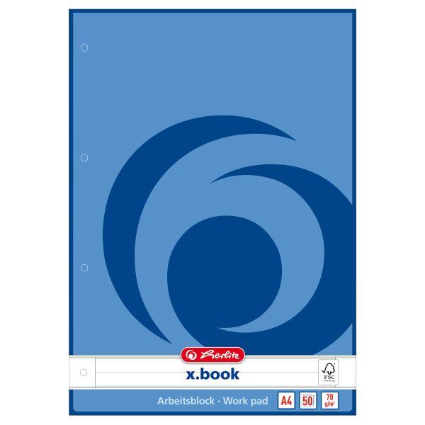 Arbeitsblock A4 50 Blatt FSC Mix liniert blau