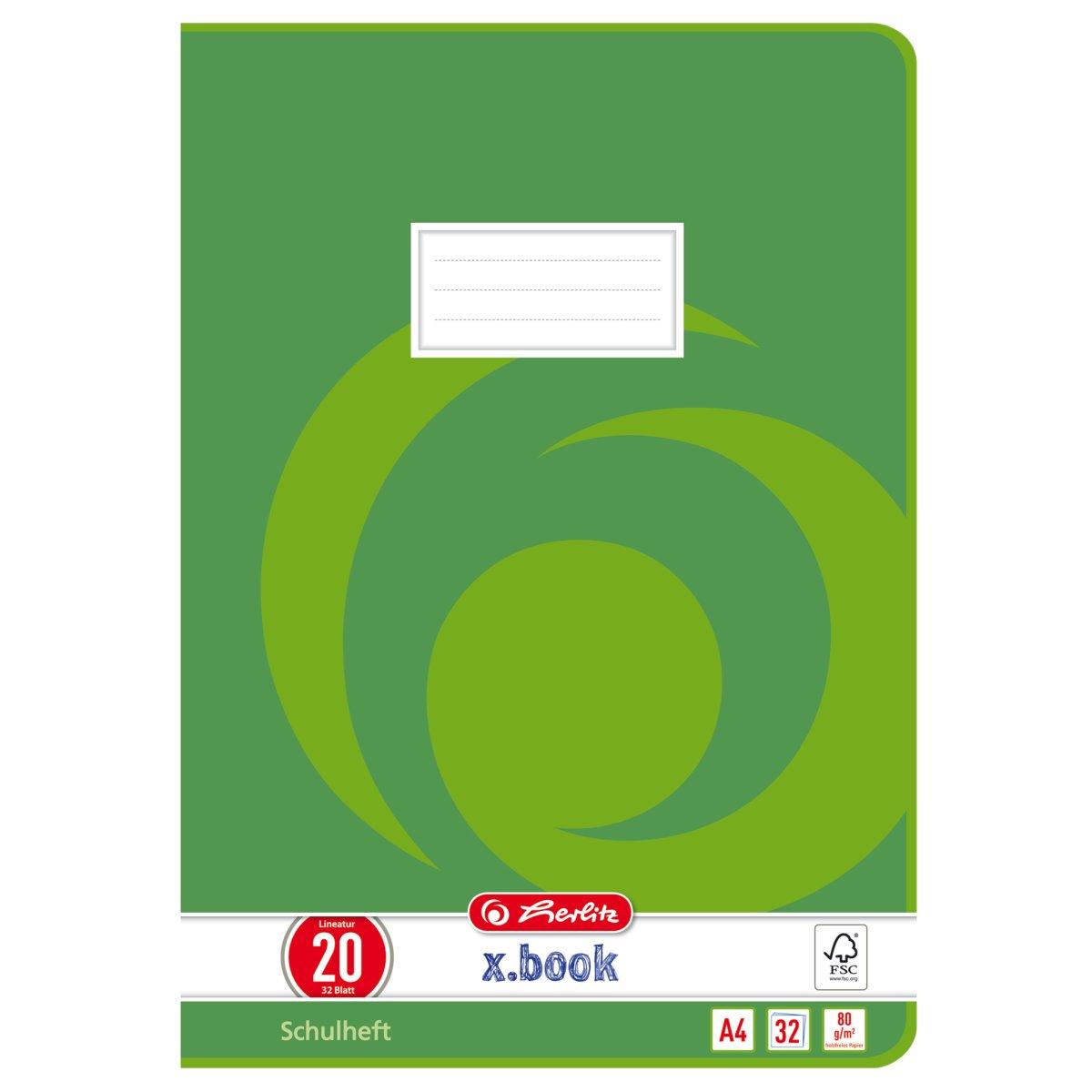 Herlitz Heft A5 Lineatur 03 liniert 32 Blatt wei/ß 80 g//m/² holzfreies Papier