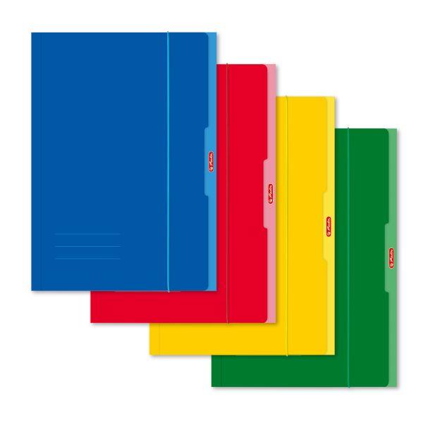 Sammelmappe A4 farbig sortiert rot,gelb,grün,blau,mit Gummiband