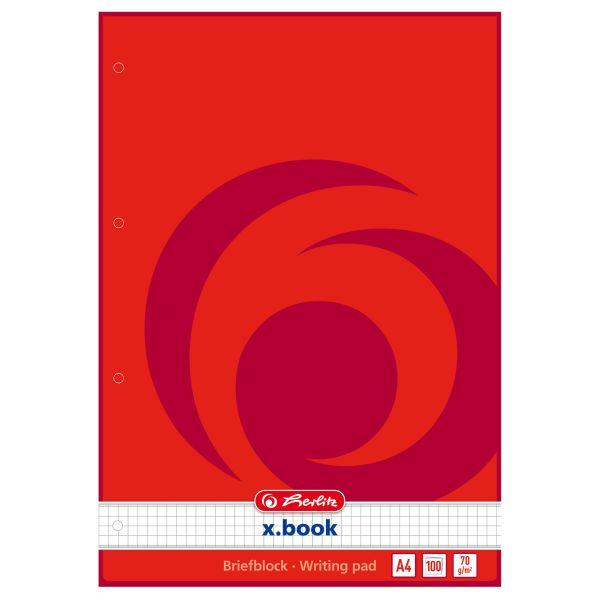 Briefblock A4 100 Blatt kariert 4-fach Lochung