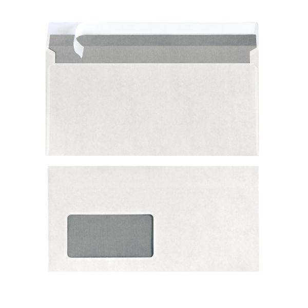 Briefumschlag DL haftklebend mit Fenster weiß 100er Packung FSC Mix