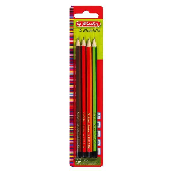 Bleistifte Scolair sortiert 4 Stück FSC auf Blisterkarte