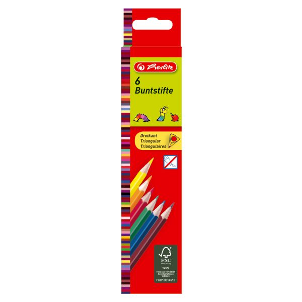 Dreikantbuntstifte 6er lackiert in Hängeschachtel