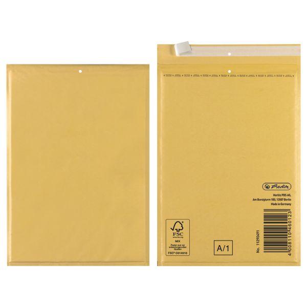Luftpolstertasche A 12,5x17 cm haftklebend braun FSC Mix 4er Packung
