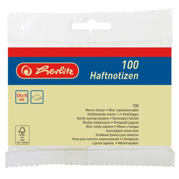 Haftnotizblock 125x75mm 100 Blatt gelb Hängeware FSC Mix
