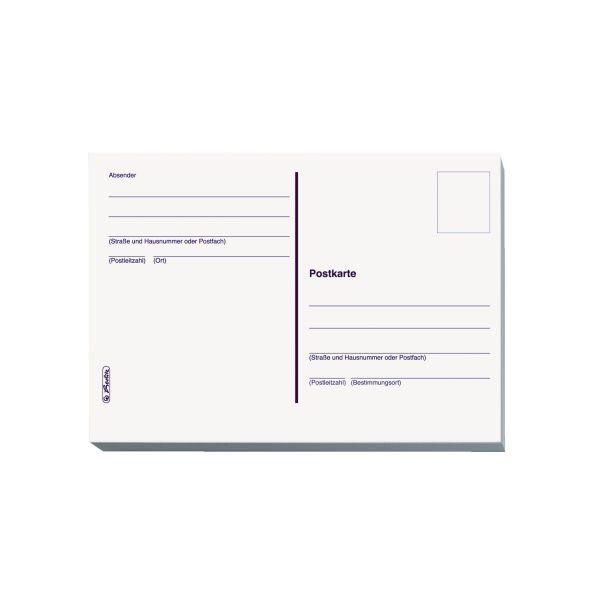 Postkarte A6 20er-Heft geblockt weiß