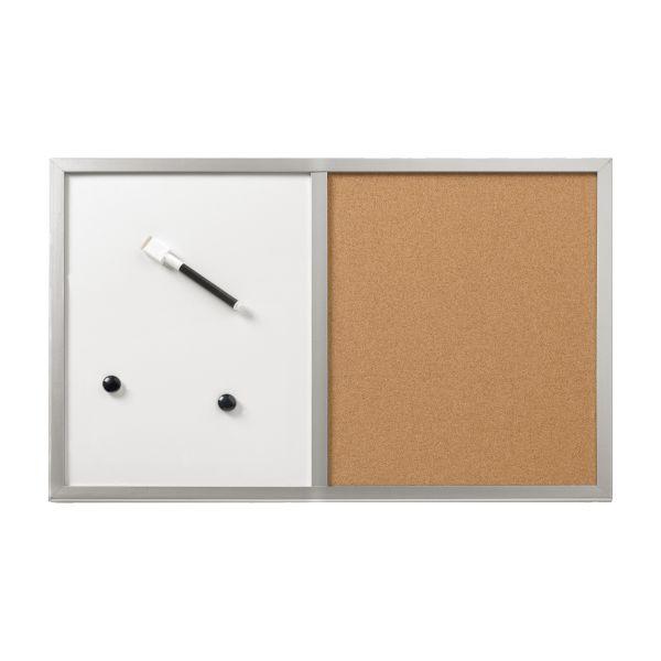 Pinnwand und Magnettafel 40x60cm mit silberfarben Holzrahmen