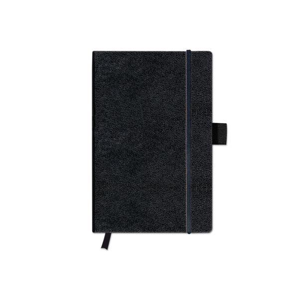 Notizbuch Classic A6 96 Blatt kariert schwarz mit Leseband und Falttasche my.book