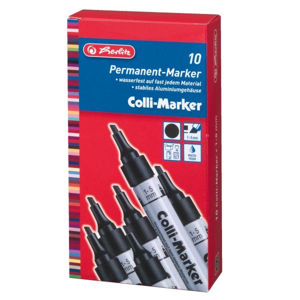 Colli Marker 1-5mm Keilspitze schwarz 10 Stück in Faltschachtel