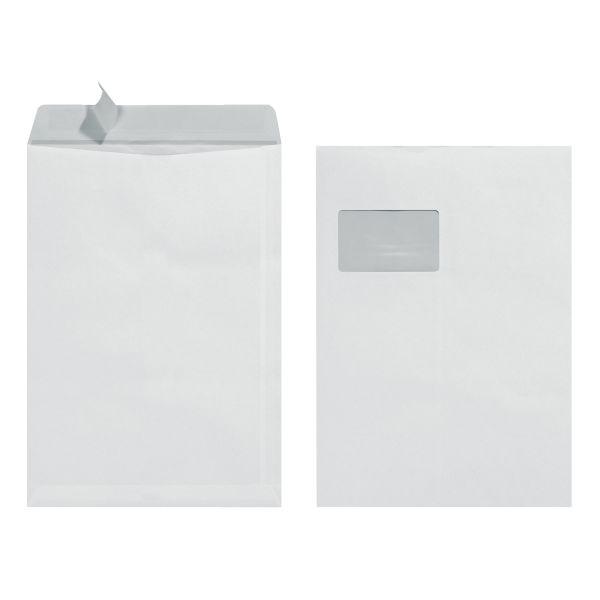 Versandtasche C4 90g haftklebend mit Fenster weiß 10er Packung