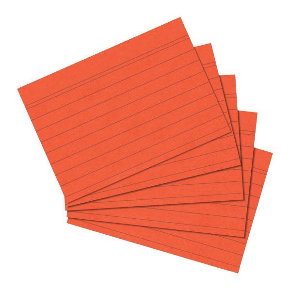 Karteikarte A6 liniert orange 100er Packung