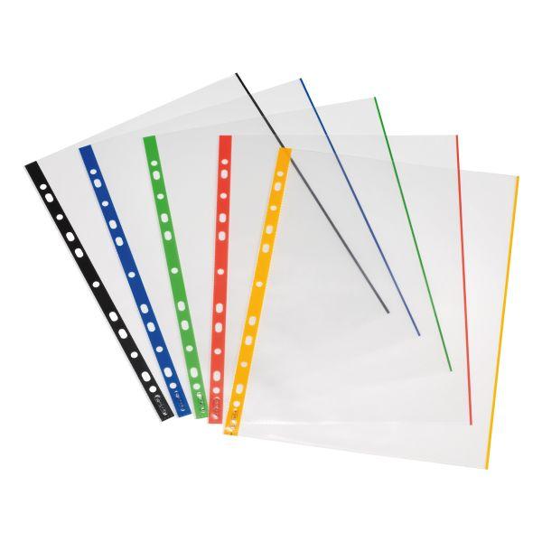 Prospekthülle A4 gk farbiger Rand transparent, farbig sortiert 10er