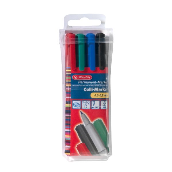 Colli Marker 0,5 - 0,8 mm 4er Etui farbig sortiert Kegelspitze