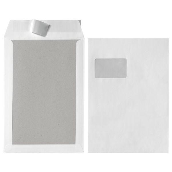 Versandtasche C4 120g Papprückwand haftklebend mit Fenster weiß 5er Pk.