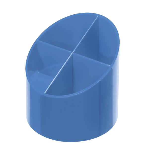 Köcher rund hochglanz baltic blue 4 Fächer