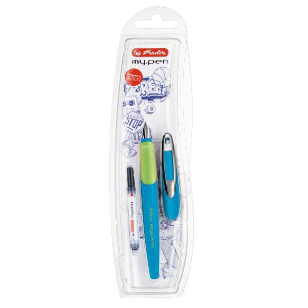 Schulfüllhalter my.pen M-Feder blau/neon