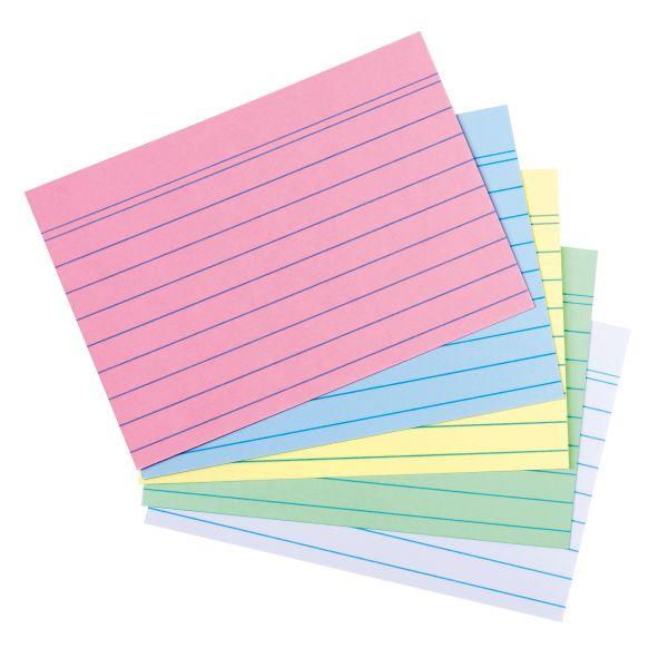 Karteikarte A8 liniert farbig sortiert 4 Farben plus weiß 200er Packung