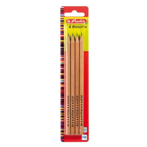 Bleistifte Skizzo natur HB 4 Stück auf Blisterkarte
